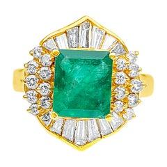 1.62 Carat Emerald-Cut Colombian Emerald and Diamond 18 Karat Yellow Gold Ring