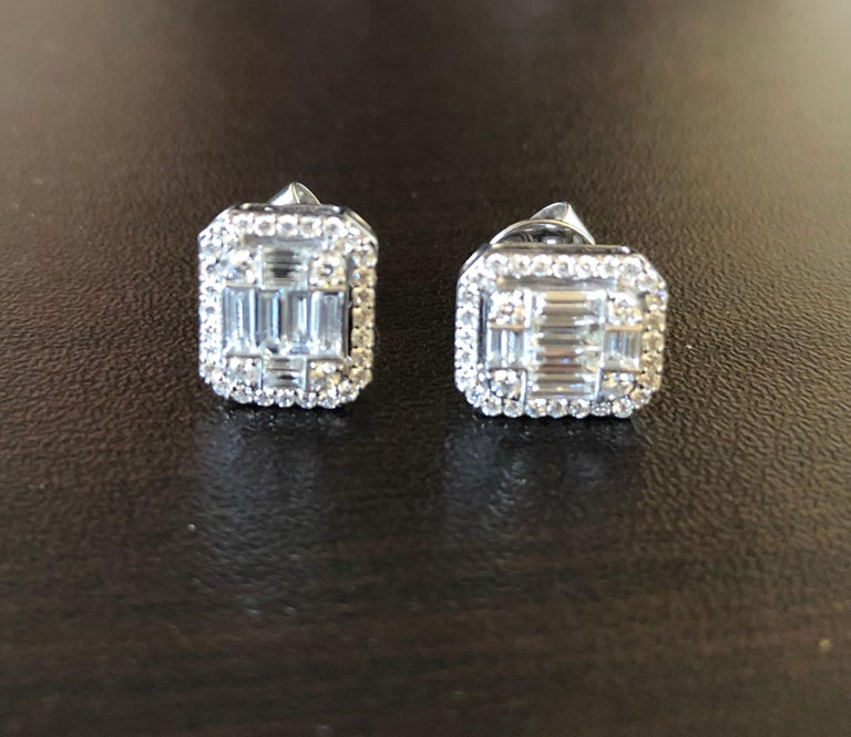 Modern 1.62 Carat Emerald Cut Earrings with Halo For Sale
