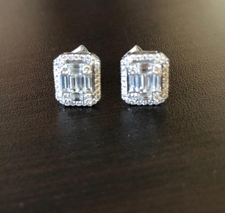 Baguette Cut 1.62 Carat Emerald Cut Earrings with Halo For Sale