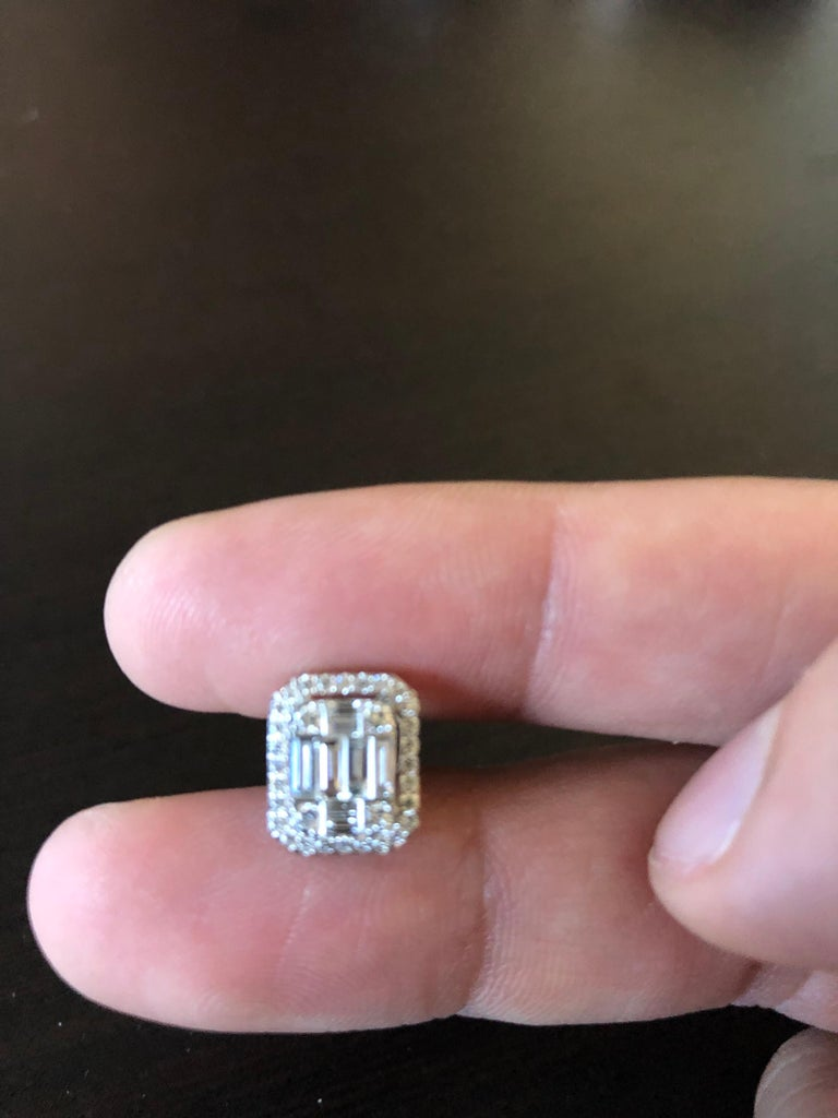 Women's 1.62 Carat Emerald Cut Earrings with Halo For Sale