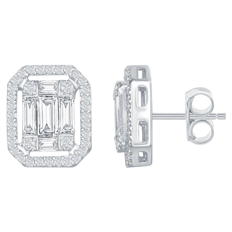 1.62 Carat Emerald Cut Earrings with Halo For Sale