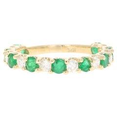 1.62 Carat Emerald Diamond 14 Karat Yellow Gold Band