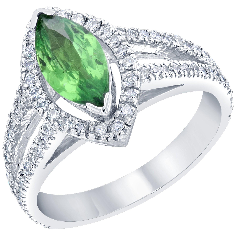 1.62 Carat Marquise Cut Tsavorite Diamond 14 Karat White Gold Engagement Ring