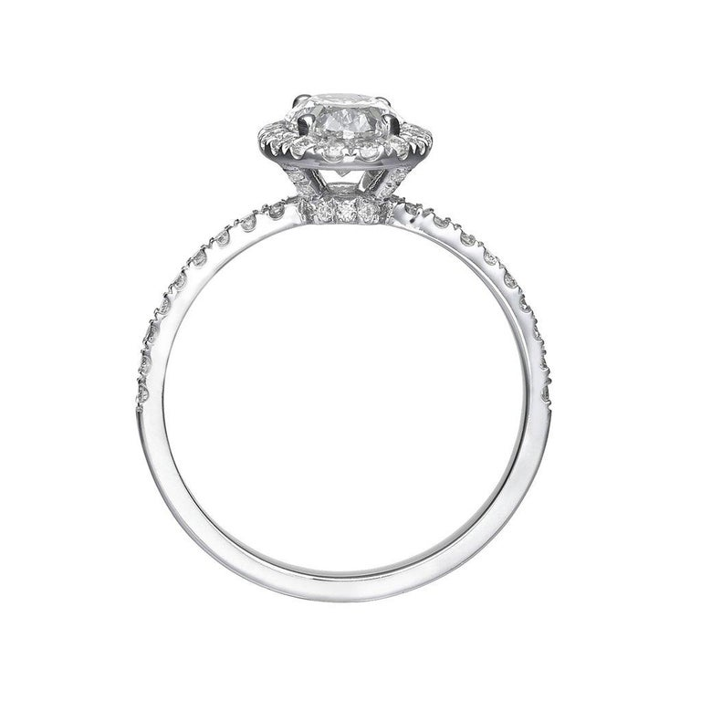 1.62 Carat Oval Cut Diamond Engagement Ring on 18 Karat White Gold 2