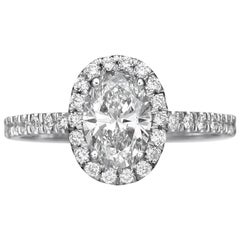 1.62 Carat Oval Cut Diamond Engagement Ring on 18 Karat White Gold
