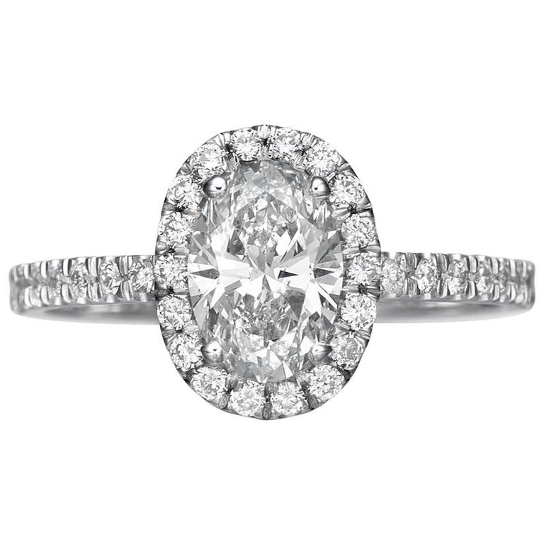 1.62 Carat Oval Cut Diamond Engagement Ring on 18 Karat White Gold 1