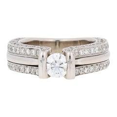 1.62 Carat Round Brilliant Diamond Engagement Ring, 14 Karat White Gold