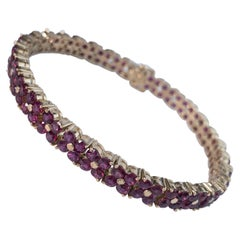 16.2 Carat Ruby Flower Motif Bracelet in 14 Karat Yellow Gold