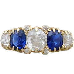 1.62 Carat Sapphire and 1.45 Carat Diamond 18 Karat Yellow Gold Dress Ring