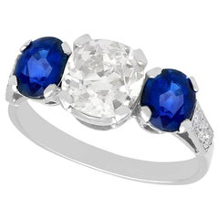 1.62 Carat Sapphire and 1.86 Carat Diamond Trilogy Ring
