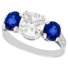 1.62 Carat Sapphire and 1.86 Carat Diamond Trilogy Ring