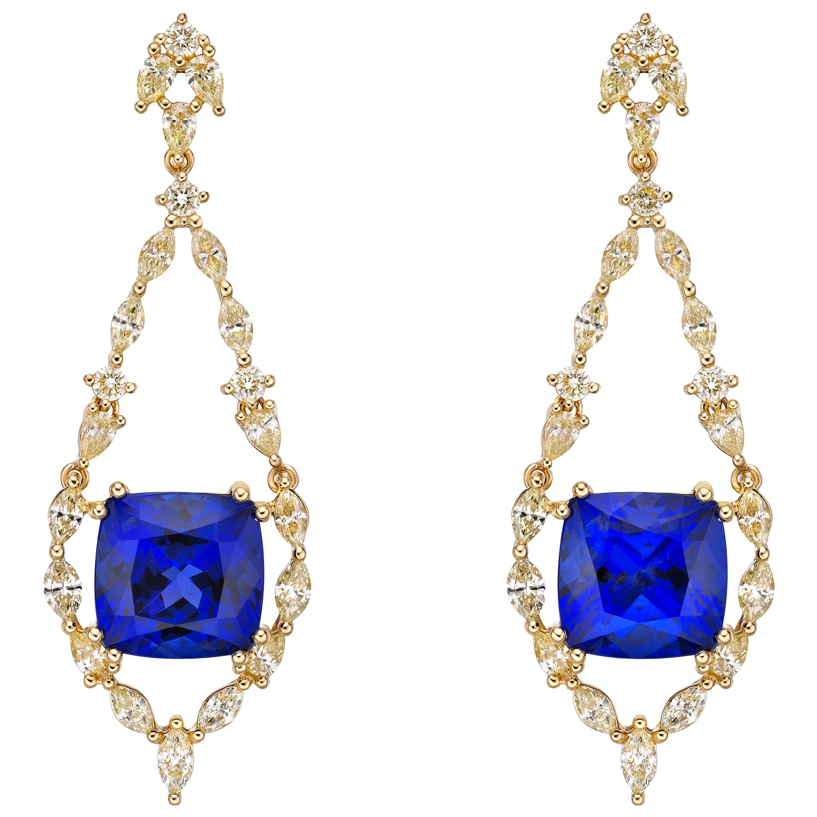 16.2 Carat Tanzanite and Yellow Diamond Earring in 18 Karat Yellow Gold