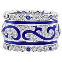1.62 Carat White Diamond and Sapphire Enamel 18 Karat White Gold Ring