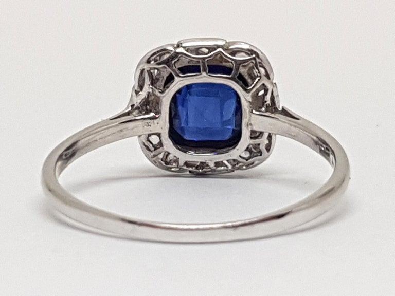 Women's 1.62 Carat White Gold Diamond Sapphire Ring For Sale
