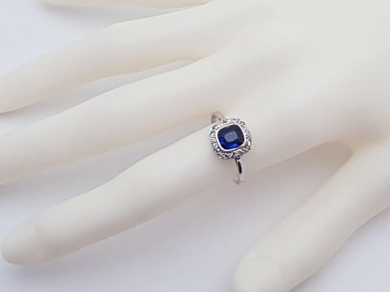 1.62 Carat White Gold Diamond Sapphire Ring For Sale 1