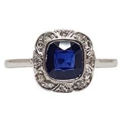 1.62 Carat White Gold Diamond Sapphire Ring