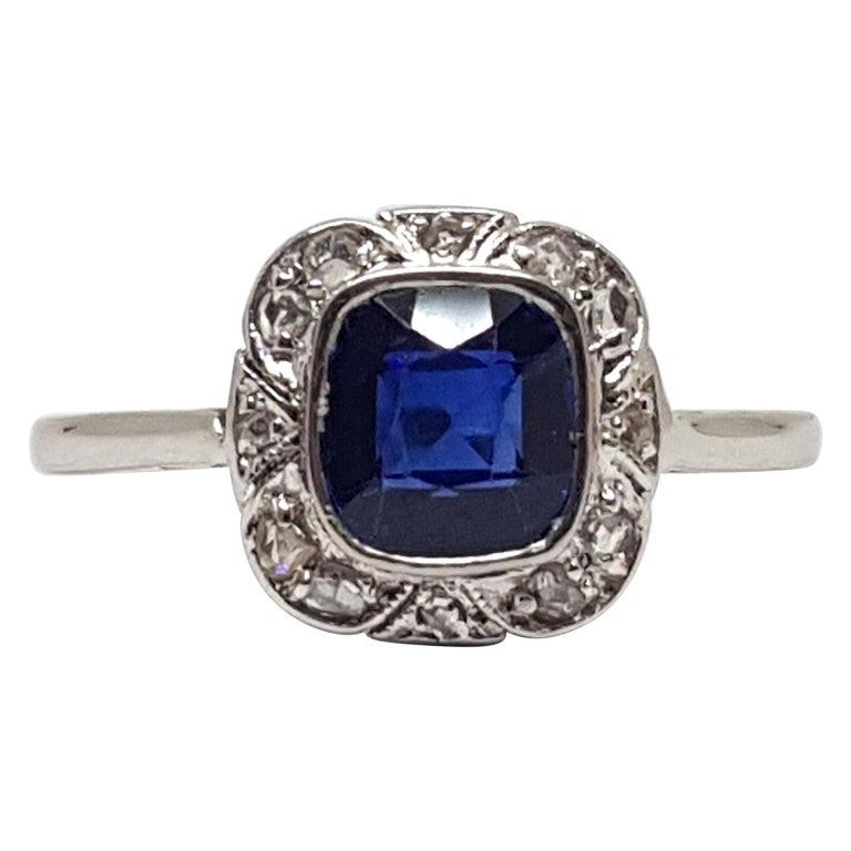 1.62 Carat White Gold Diamond Sapphire Ring For Sale