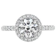 1,62 Karat Gesamtgewicht Runder Diamant-Halo-Ring