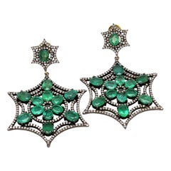 16.22 Carat Natural Emerald and Diamond Flower Dangle Earrings in Art Deco Style