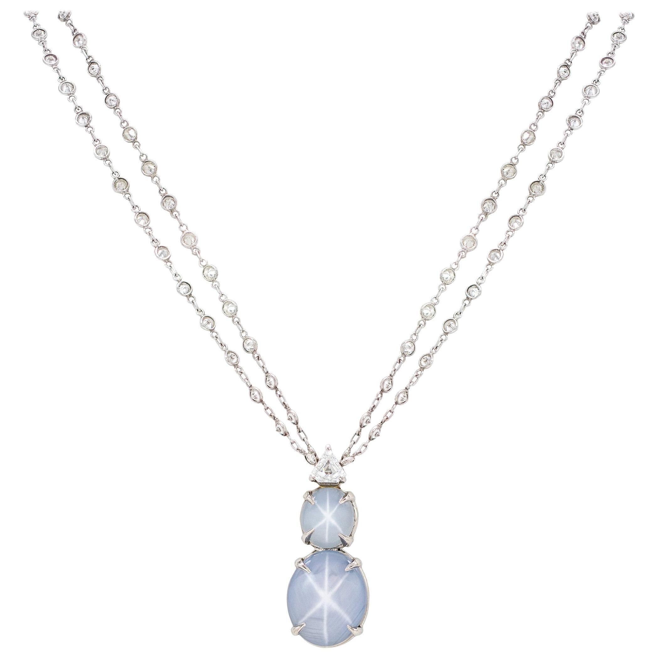 AGL Cert 16.22 Carat NO HEAT Natural Star Sapphire and Diamond Necklace Plat