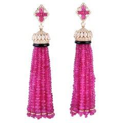 162.57 Carat Ruby Diamond 18 Karat Gold Chandelier Drop Tassel Earrings