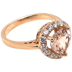 1.629 Carat Heart Shaped Morganite Ring in 18 Karat Rose Gold with Diamonds