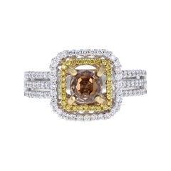 1.63 Carat Champagne Brown Diamond Engagement 18 Karat White Gold Ring
