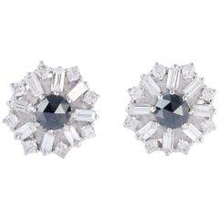 1.63 Carat Diamond 18 Karat White Gold Baguette Stud Earrings