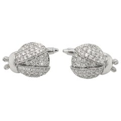 1.63 Carat Diamond Cufflinks White Gold Ladybug with Box