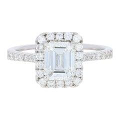 1.63 Carat Emerald Cut Diamond Engagement Ring, 14 Karat White Gold GIA Halo