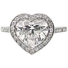 1.63 Carat GIA Certified F Si1 Heart Shaped Diamond Ring