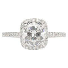 1.63 Carat Lab Grown Diamond Halo Diamond Engagement Ring