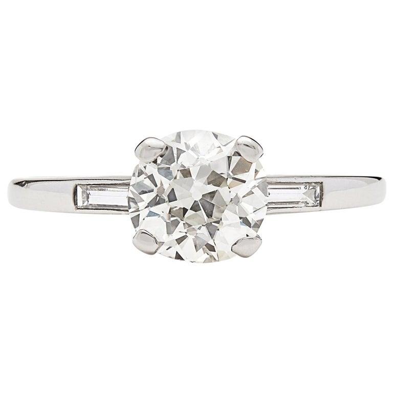 1.63 Carat Old European Cut Diamond Engagement Ring For Sale