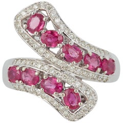 1.63 Carat Oval Ruby Diamond Fashion Twist Statement Ring 14 Karat White Gold