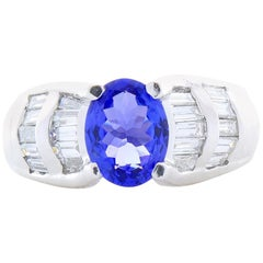 1.63 Carat Oval Tanzanite and Baguette Diamond Platinum Cocktail Ring