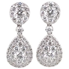 1.63 Carat Pear and Oval Shape Round Diamond Earrings