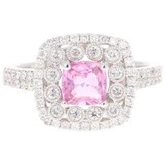 1.63 Carat Pink Sapphire Diamond 18 Karat White Gold Ring