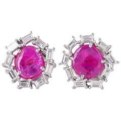 1.63 Carat Ruby Baguette Diamond 18 Karat Stud Earrings