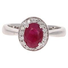 1.63 Carat Ruby Diamond 14 Karat White Gold Ring