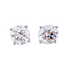 1.63 Carat Total Diamond Stud Earrings in 14 Karat White Gold