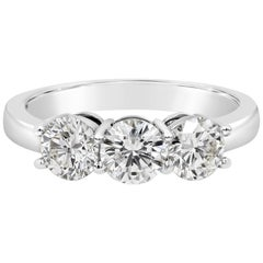 1.63 Carat Total Round Diamond Three-Stone Wedding Band