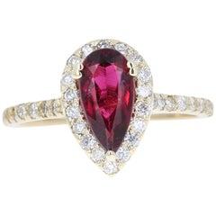 1.63 Carat Tourmaline Diamond 14 Karat Yellow Gold Engagement Ring
