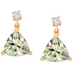 1.63 Carat Trillion Cut Color Change Diaspore and Diamond Earrings