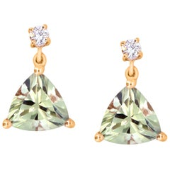 Trillion Cut Color Change Diaspore and Diamond Drop Earrings