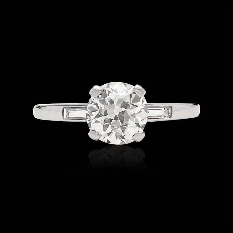 1.63 Carat Old European Cut Diamond Engagement Ring In Excellent Condition For Sale In San Francisco, CA