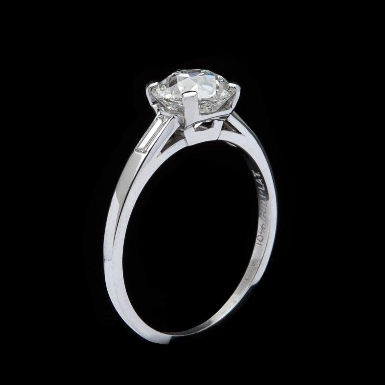 Women's 1.63 Carat Old European Cut Diamond Engagement Ring For Sale