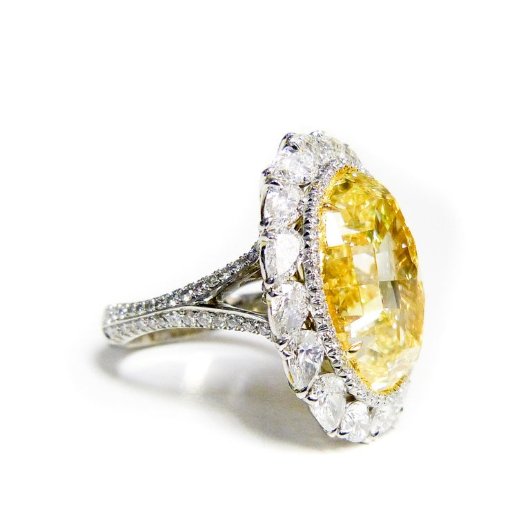 Oval Cut 16.30 Fancy Intense Yellow Diamond Ring For Sale