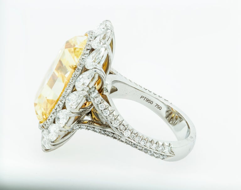 Women's 16.30 Fancy Intense Yellow Diamond Ring For Sale