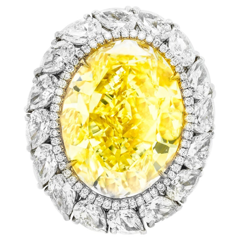 16.30 Fancy Intense Yellow Diamond Ring For Sale