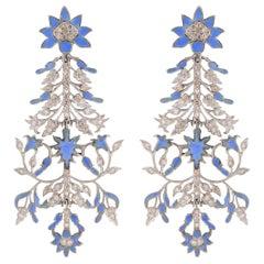 1632 Taj Wall Art Inspired Earrings 'Enamel & Diamonds'